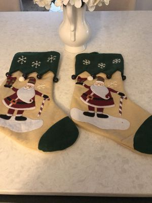 Set of 2 Santa stockings. Adorable for that rustic Christmas look. Ikeda will love!🌲 for Sale in Pembroke Pines, FL