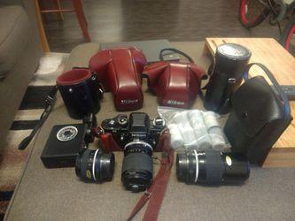 Nikon F3 SLR camera w/ lenses and accessories for Sale in Denver,  CO