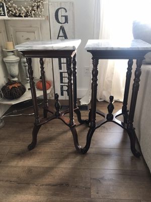 Beautiful heavy vintage antique marble 2 end tables side tables nightstands for Sale in Lodi, CA