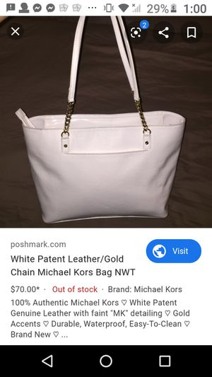 micheal kors travel tote purse all white leather&gold weatherproof& Easy to clean for Sale in Spanaway, WA