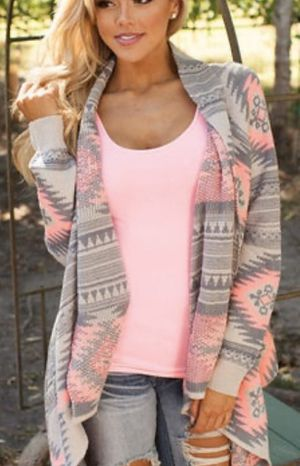 Pink & Grey Open Lightweight Sweater Cardigan XL for Sale in MENTOR ON THE, OH