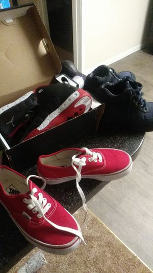 Vans red Jordan black and red blue nike boots for Sale in Las Vegas, NV
