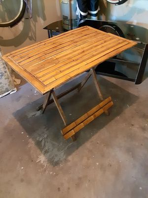 Firm price bamboo and wood folding table 3ft h 2ft w for Sale in Durham, NC