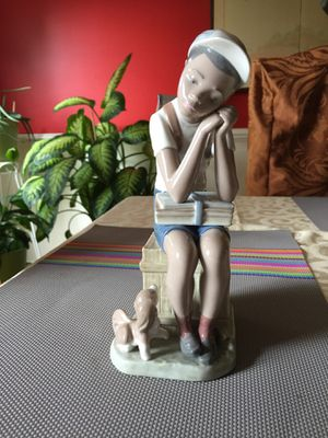"Lladro Figurine-""Exam Day- Black Legacy School Boy W/Dog"" #5250 for Sale in MARTINS ADD, MD"