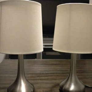 Brushed Nickel Bedside Table Lamps With Linen Shades for Sale in Mesa, AZ