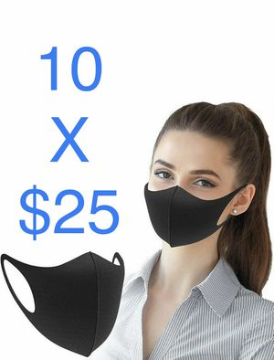 10 Pcs Black Face Mask Stretch Thin Cover Mouth Washable Reusable Unisex Sealed for Sale in Miami, FL