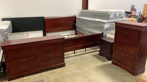 NEW Louise Philippe 4- Piece Queen Bedroom set. Cherry for Sale in Hilliard, OH