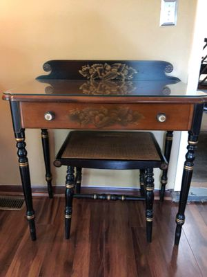 L. Hitchcock Writing Desk and Wicker Stool for Sale in Westlake, OH