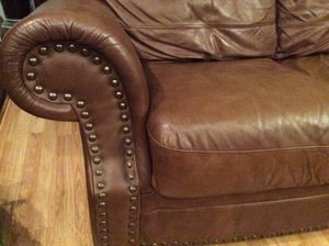 Leather Brown Couch for Sale in Schaumburg, IL