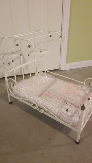 Vintage white metal baby doll canopy bed for Sale in Denver, CO