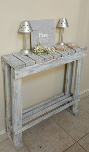 """32""""H X 36""""W X 10""""D 🌱Solid Wood Entryway Console Table with Shelf ::: Rustic Distressed Still Gray/White for Sale in Las Vegas, NV"""