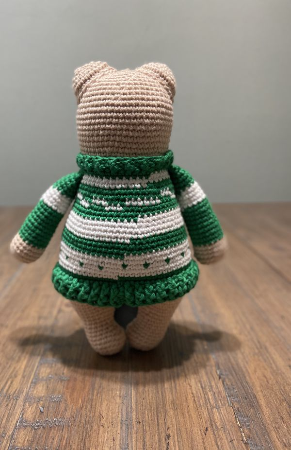 Handmade and crocheted Stuffed Sweater Bear