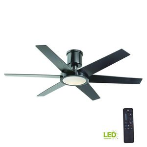 Home Decorators Collection Clermont 52 in. LED Indoor Glossy Black Ceiling Fan with Light Kit and Remote Control for Sale in Houston, TX
