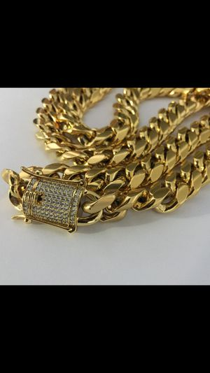 Cuban Necklace and Bracelet 14-18KT Gold Plated over Stainless Steel for Sale in New York, NY