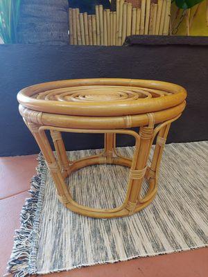 Boho Tiki Rattan wooden Ottoman side table for Sale in Montebello, CA
