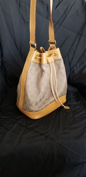 Vintage Gucci Drawstring Bucket bag Canvas/Leather (Authentic) for Sale in San Leandro, CA