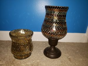 Ashland pillar candle holder colored glass for Sale in Chambersburg, PA