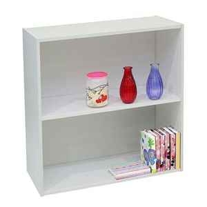 Darrin 2 Tier Open Shelf Bookcase Storage Organizer, White Wood, Contemporary [Open Box] [Item 3185] for Sale in Irving, TX