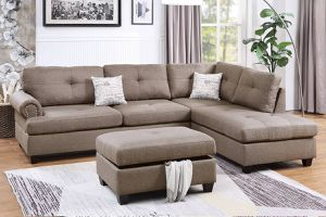 MOCHA DORRIS FABRIC SECTIONAL SOFA COUCH REVERSIBLE CHAISE + OTTOMAN for Sale in Rancho Cucamonga, CA
