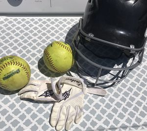 Kids Softball Helmet/ small gloves,2 softballs $25 for Sale in San Diego, CA