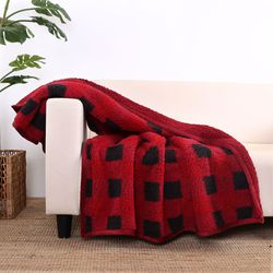 """Better Homes & Gardens Sherpa Throw Blanket, 50"""" x 60"""", Red Plaid for Sale in Houston,  TX"""