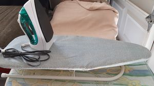 Tabletop collapsible ironing board with Nearly New Sunbeam Teflon coated iron for Sale in Deltona, FL