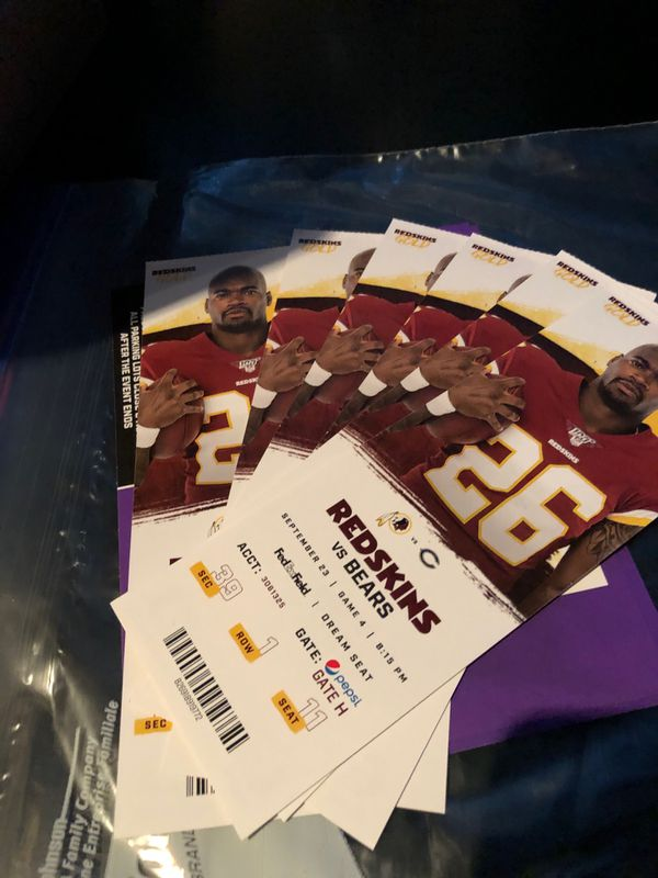 Redskins vs Bears 6 DREAM SEATS plus Parking Pass