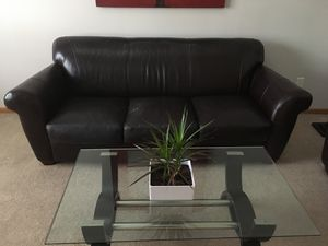 Dark brown leather sofa and love seat for Sale in Blacklick, OH