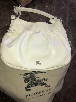 Authentic Burberry White Leather Shoulder Satchel Hobo Bag Purse for Sale in El Cajon, CA