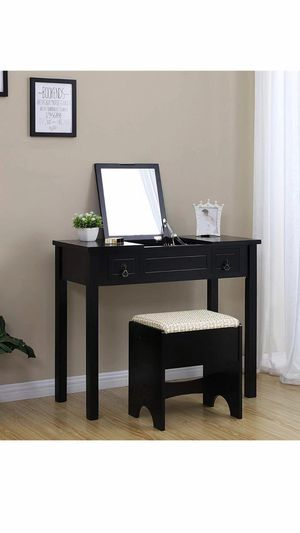 Vanity Set with Flip Top Mirror Makeup Dressing Table Writing Desk with 2 Drawers Cushioned Stool 3 Removable Organizers, Easy Assembly for Sale in Chino, CA