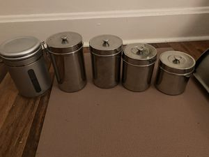 Four matching stainless steel storage containers for Sale in Delaware, OH