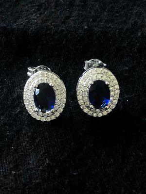 Sterling Silver Blue CZ earrings for Sale in Las Vegas, NV