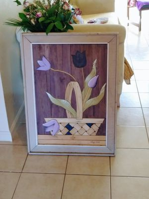 Degroot flower basket wood art for Sale in US