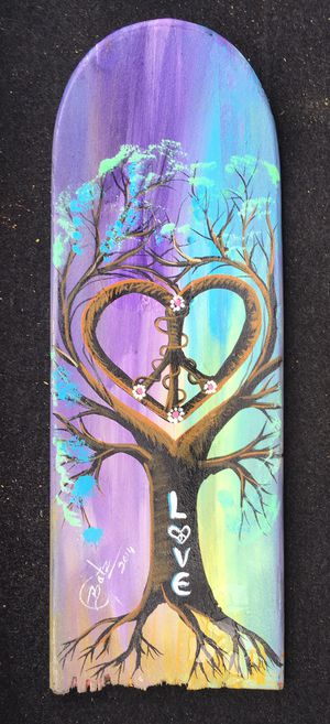 Hand Painted By Street Artist In Venice!! Extremely Beautifully Nature Tree Peace Sign & Love Multicolored Pastel Recycled & UpCycled Skateboard Art for Sale in Laguna Beach, CA