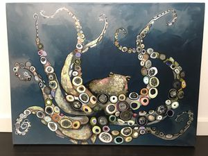 'Octopus in the Navy Blue Sea' - Wall Art for Sale in PECK SLIP, NY