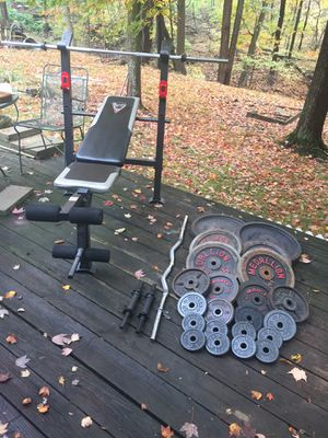 280lbs Standard Weights with Bench and Bars for Sale in Medina, OH
