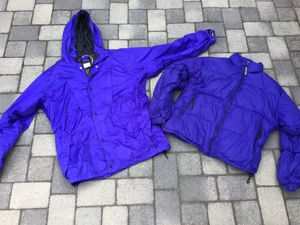 Two matching indigo/ purple jackets. Down filled puffy Sierra Designs jacket & REI hooded Gore-Tex jacket. Both size XL. Perfect for layering for Sale in Torrance, CA