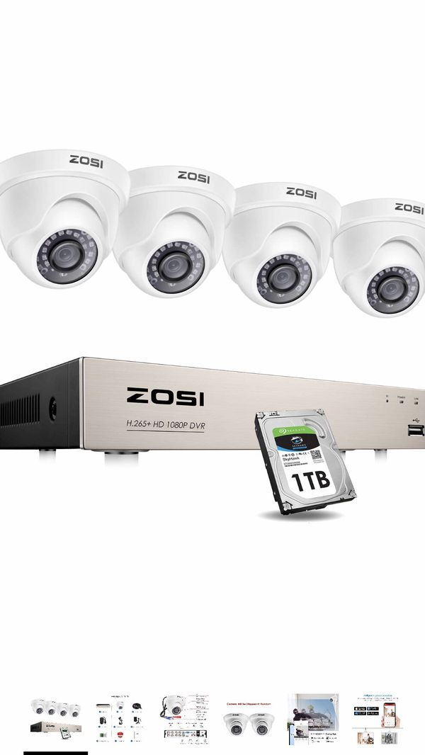 Security Cameras System with 1TB Hard Drive,H.265+ 5MP Lite 8Channel HD-TVI DVR Recorder and 4pcs 1080P HD 1920TVL Indoor Outdoor Surveillance CCTV D