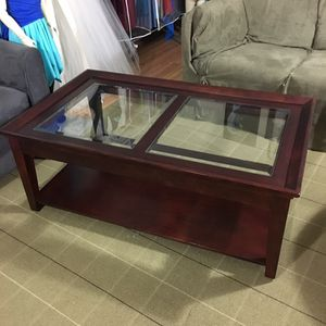 Wood and glass coffee table with wheels for Sale in Louisa, VA
