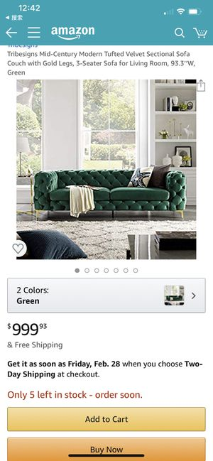 Tribesigns Mid-Century Modern Tufted Velvet Sectional Sofa Couch with Gold Legs, 3-Seater Sofa for Living Room, 93.3''W, Green for Sale in Ontario, CA
