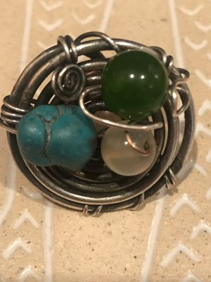 Silver Birds Nest ring trio stones for Sale in St. Louis, MO