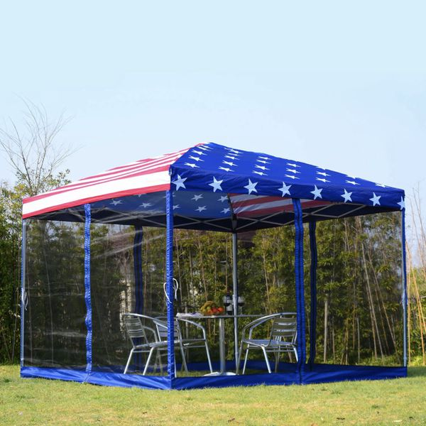 NEW 10x10 USA Flag EZ Pop Up Tailgate Gazebo Tent with Mesh Screens Party Patio Compact Carrying Bag