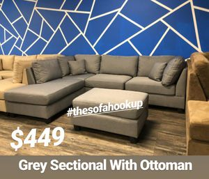 Real Showroom 😁 We Finance - Grey Reversible Chaise Couch Sofa Sectional With Ottoman for Sale in Los Angeles, CA