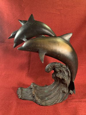 """Four-Dolphins-Jumping-On-Wave Brass Detailed Sculpture/Statue (Height: 12"""") for Sale in Dade City, FL"""
