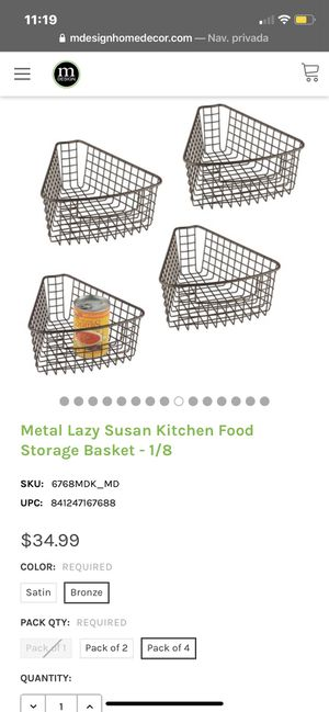 M DESIGN Metal Lazy Susan Kitchen Food Storage Basket BRONZE for Sale in Los Angeles, CA