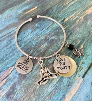 New Metal Bangle with Yoga Relaxing Charms for Sale in New York, NY