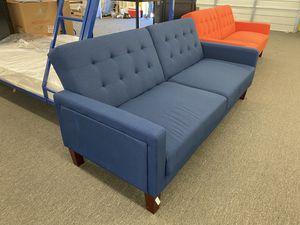NEW Gorgeous Blue Linen Porter Sofa Futon with Wooden Legs, Retails $349 for Sale in Houston, TX
