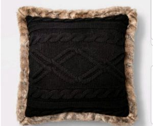 Acrylic Cable Knit with Faux Mink Reverse & Faux Fur Trim Square Throw Pillows Black Set of 2 - Threshold for Sale in Long Beach, CA