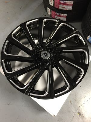 """Brand New 24"""" Inch LUX 22 Gloss Black Milled 24X9.5 Wheels Rims Rines 5X127 5X5 5X139.7 5X5.5 for Sale in Austin, TX"""