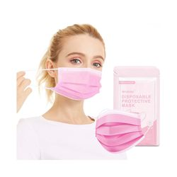 Brand new 50PCS Pink Disposable Face Masks with Elastic Ear Loop, 3-Ply Earloop Breathable Non-Woven Mouth Cover Mask for Home, Park, Office for Sale in Queens,  NY